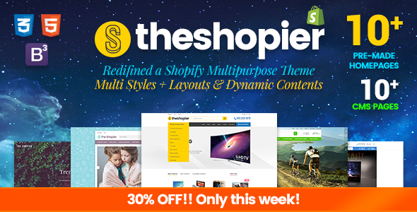 Shopier - DRAG & DROP Responsive Massive Dynamic Layout Shopify Theme