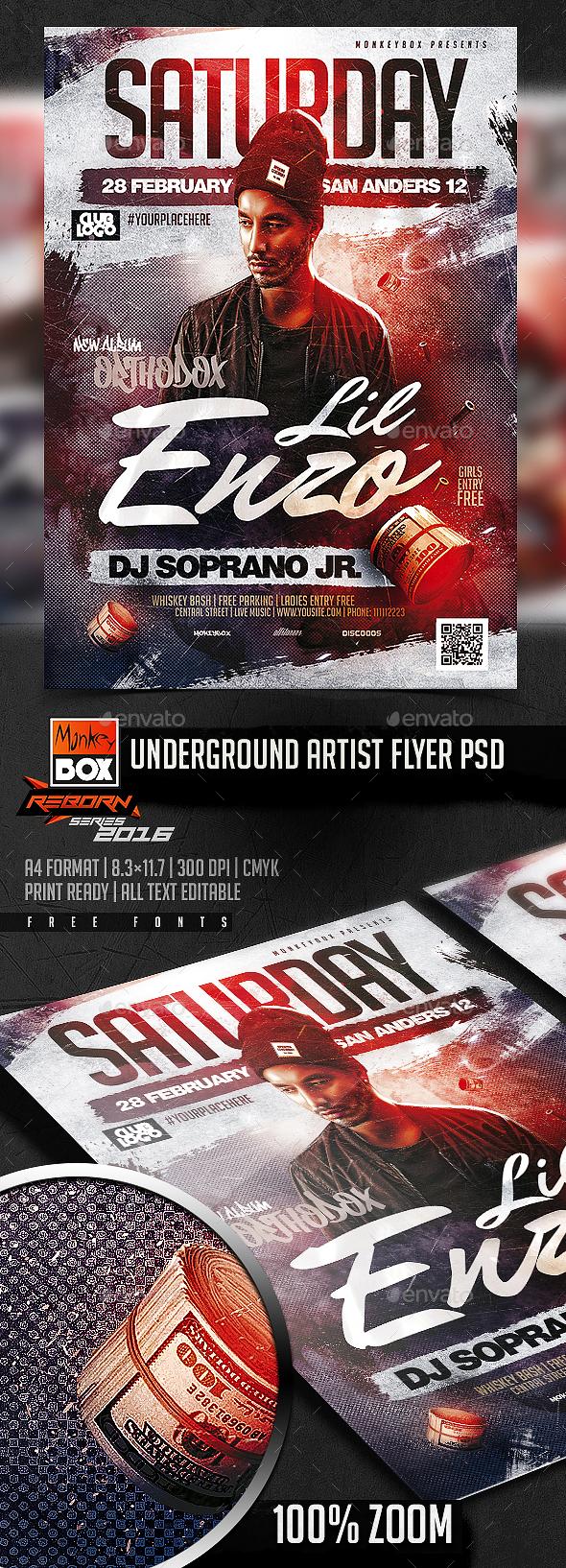 Underground Artist Flyer PSD - Flyers Print Templates