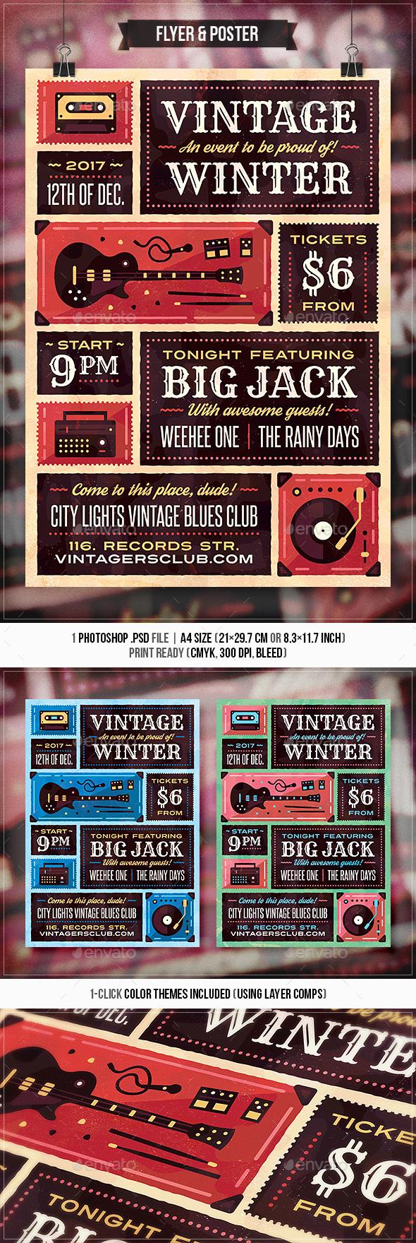 Vintage Winter - Flyer & Poster - Concerts Events