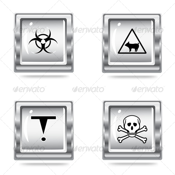 icons set of the Hazard signs  - Objects Vectors