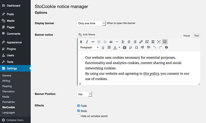 StoCookie WP plugin - Cookie law compliance and custom notifications