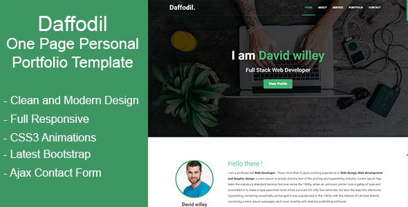 Daffodil – One Page Personal Portfolio Template