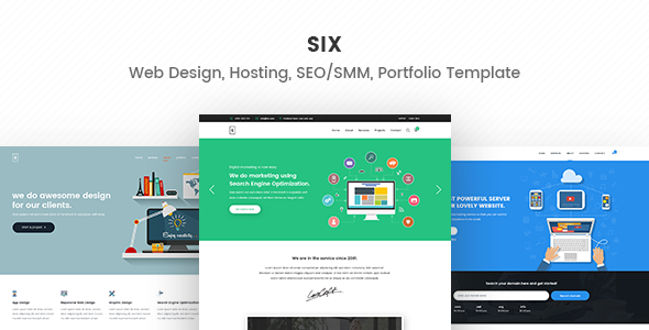 Six – Web Design, Hosting, SEO/SMM, Portfolio HTML5 Responsive Template - Marketing Corporate