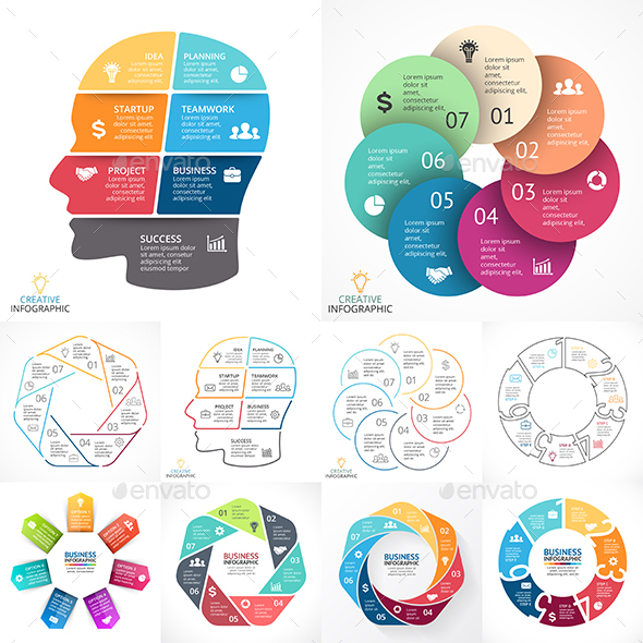 7 Steps Infographics. PSD, EPS, AI. - Infographics