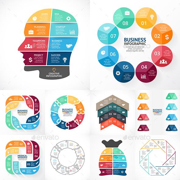 8 Options Infographics. PSD, EPS, AI. - Infographics