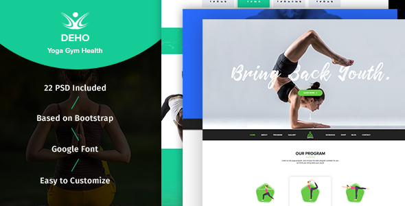 DEHO – Yoga, Gym & Health Related PSD Template