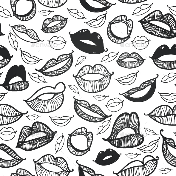 Black and white Lips Vector Pattern - Patterns Decorative