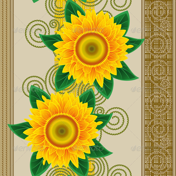 Seamless from sunflowers. - Patterns Decorative