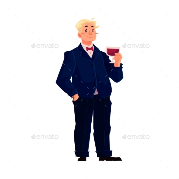 Happy Fat Man In Business Suit With Glass Of Wine - Concepts Business