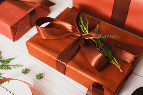 Christmas present boxes on white wood background - Stock Photo - Images