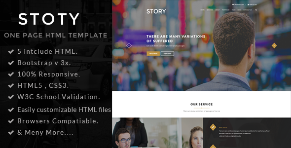Story One Page Portfolio Html Template By Themepul Themeforest