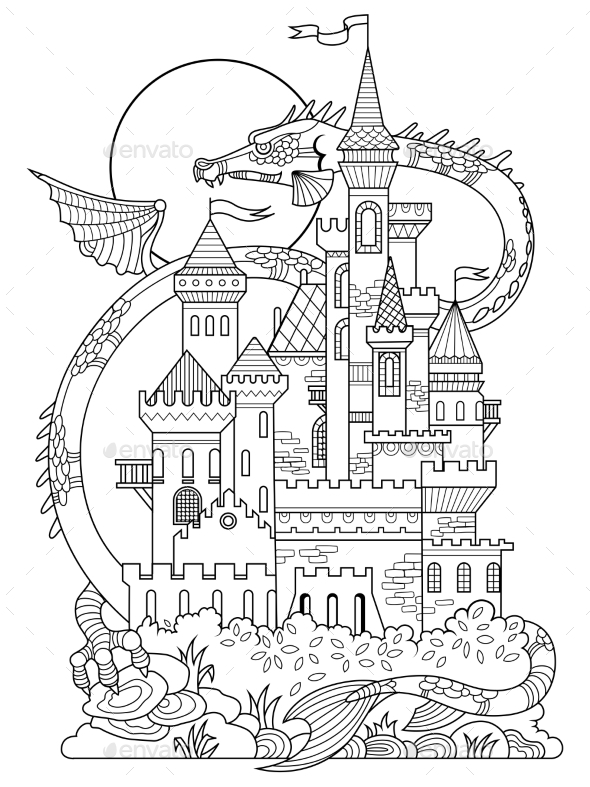 Castle And Dragon Coloring Book Vector - Backgrounds Decorative