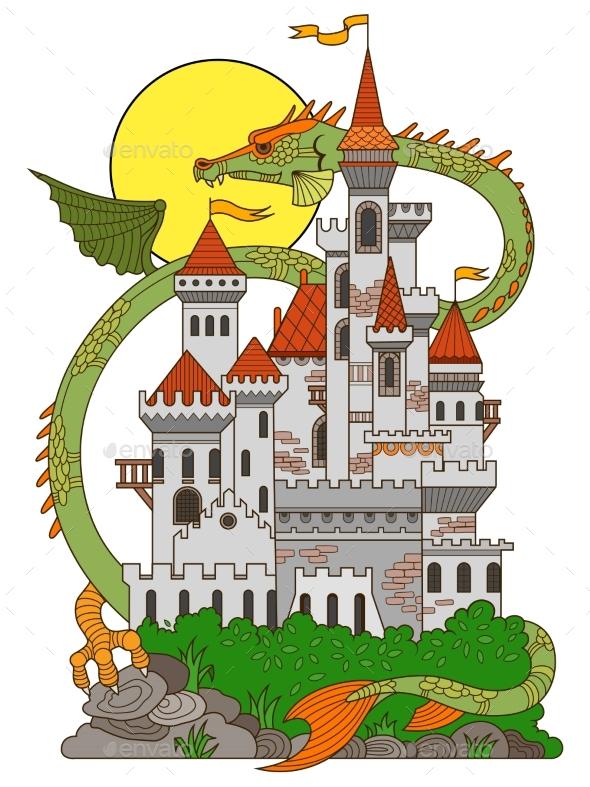 Castle And Dragon Cartoon Vector Illustration - Decorative Symbols Decorative