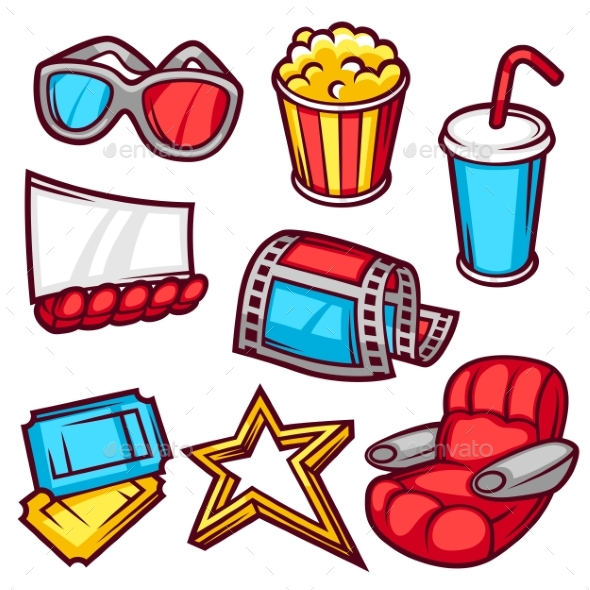 Set Of Movie Elements And Cinema Objects - Media Technology
