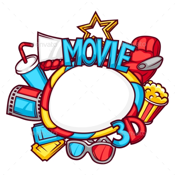 Cinema And 3d Movie Frame In Cartoon Style - Media Technology
