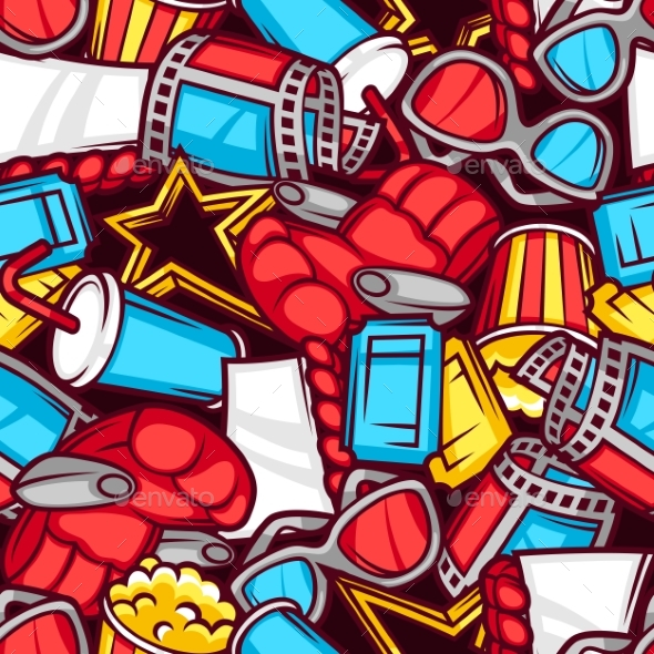 Seamless Pattern Of 3d Movie Elements And Cinema - Media Technology