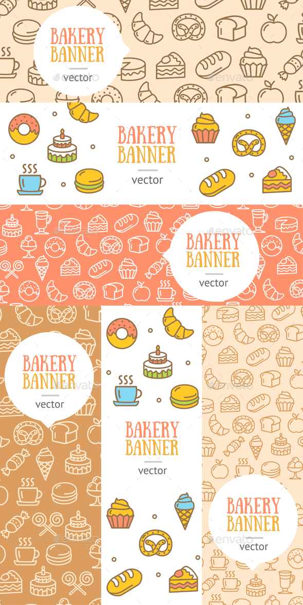 Bakery Banner Flyer Set. Vector - Food Objects