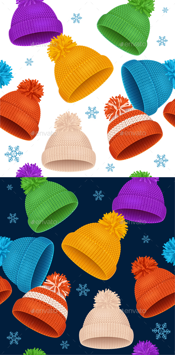 Knitted Hat Winter Background Pattern. Vector - Backgrounds Decorative