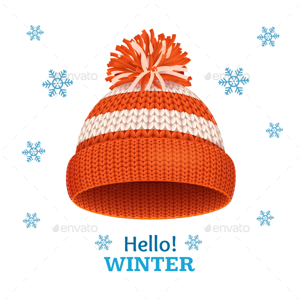 Knitted Woolen Red Hat for Winter Season Card. Vector - Seasons/Holidays Conceptual