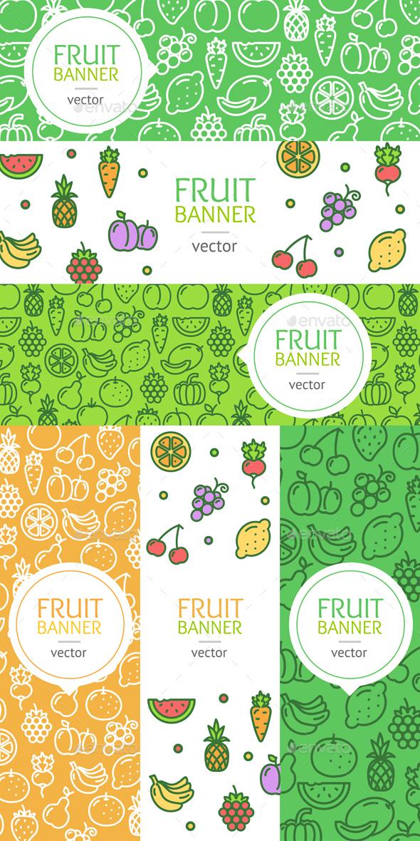 Vegan Banner Flyer Set. Vector - Food Objects