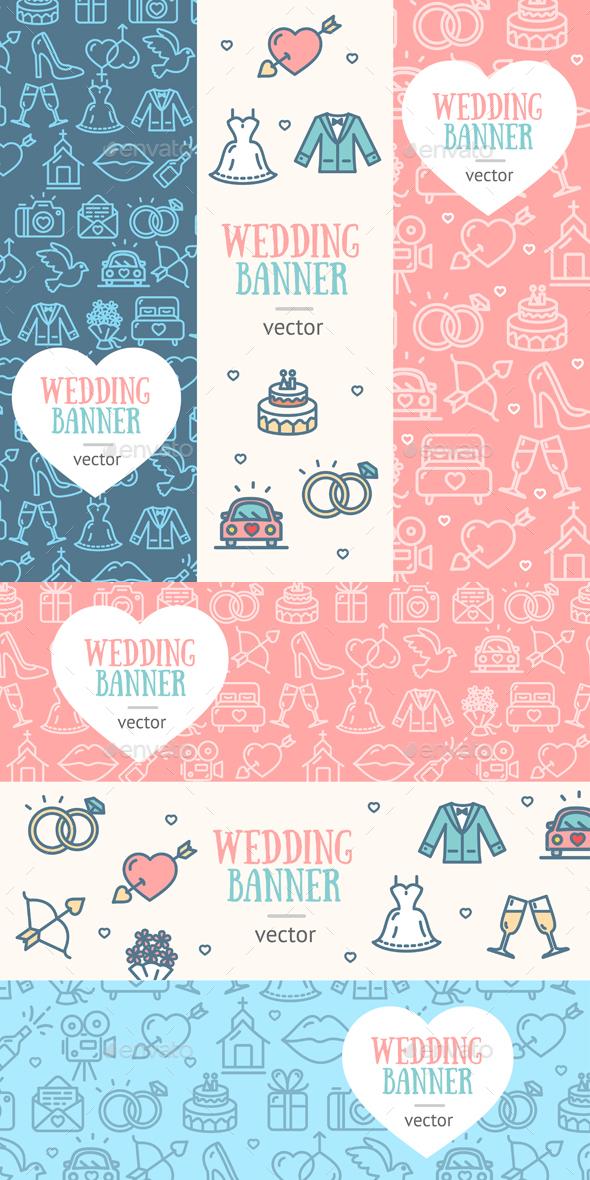Wedding Banner Flyer  Set. Vector - Weddings Seasons/Holidays