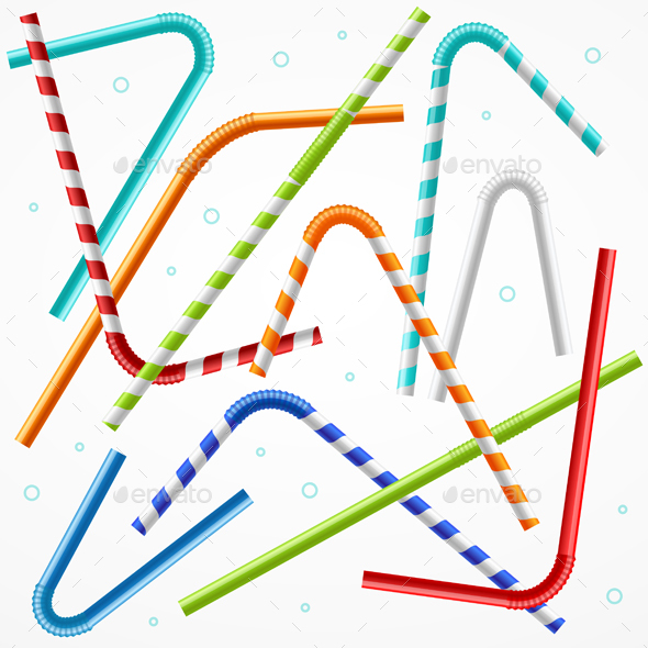 Drinking Straws Background. Vector - Backgrounds Decorative
