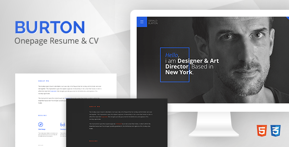 Burton – One Page Resume & CV Template