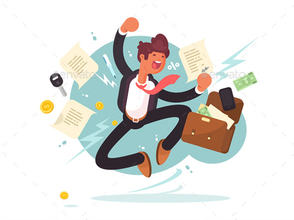 Successful Businessman Jumping For Joy - People Characters