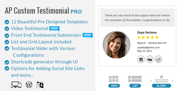 AP - Custom Testimonials for WordPress - CodeCanyon Item for Sale