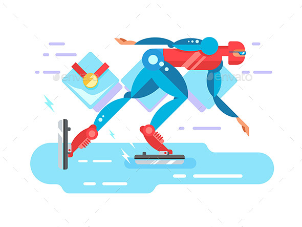 Ice Speed Skater Cartoon Character - Sports/Activity Conceptual