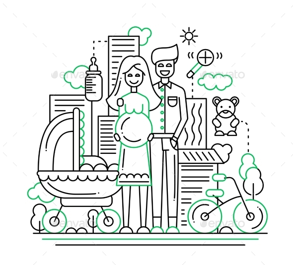 Happy Family - Line Design Illustration - People Characters