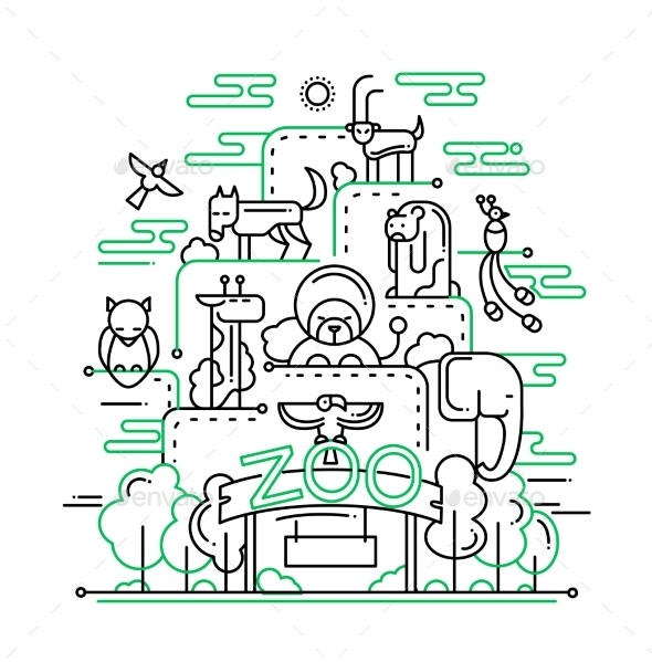 The Zoo - Line Design Illustration - Miscellaneous Conceptual