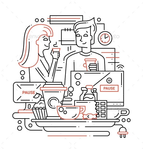 Coffee Break - Line Design Illustration - Concepts Business