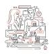 Coffee Break - Line Design Illustration - GraphicRiver Item for Sale