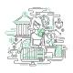 Businesswoman Managing Money - Line Design - GraphicRiver Item for Sale