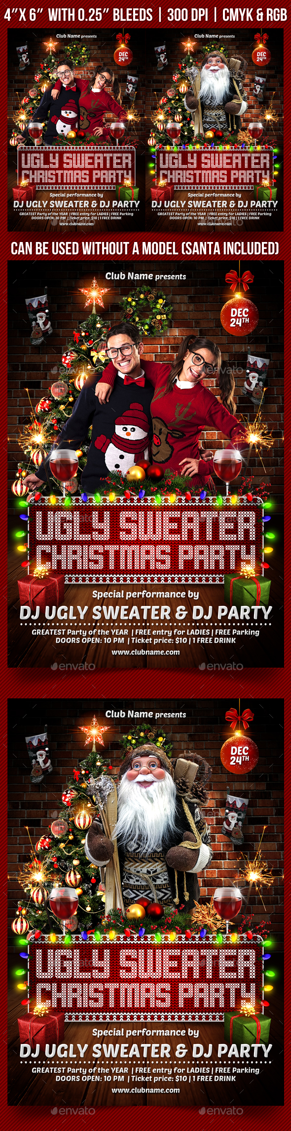 Ugly Christmas Sweater Party Flyer - Holidays Events