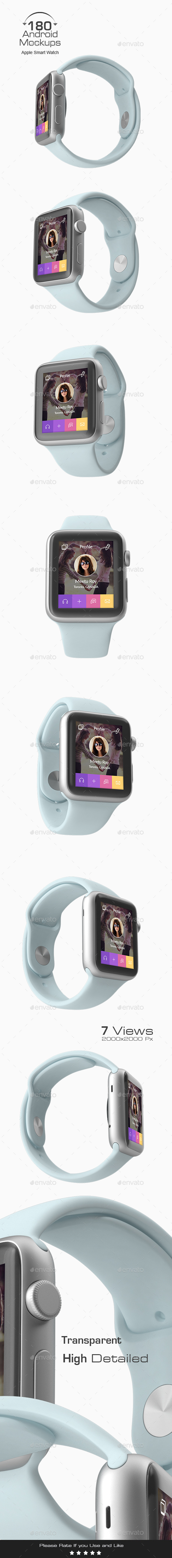 180 Responsive 3D Mockup - Apple Smart Watch - Miscellaneous Displays