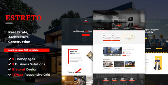 Estreto – Real Estate, Property, Architecture & Construction PSD Template