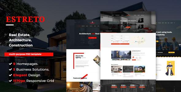 Estreto - Real Estate, Property, Architecture & Construction PSD Template