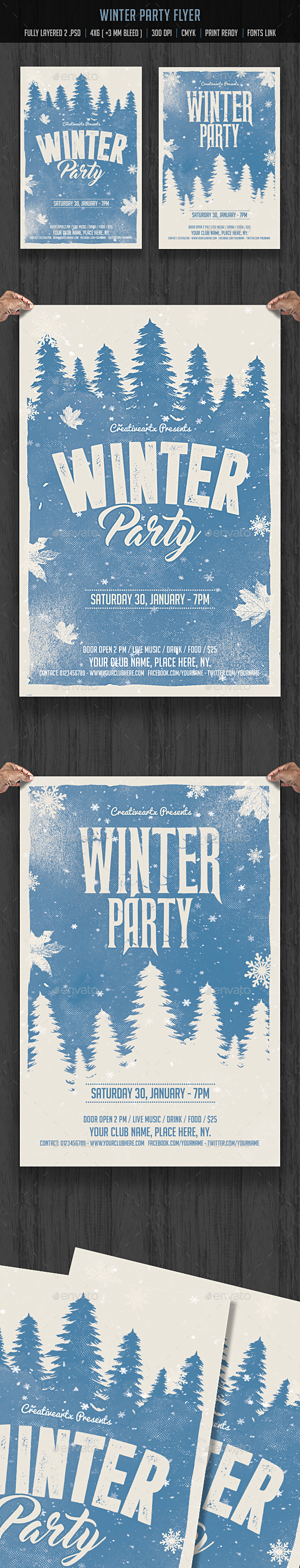Winter Party Flyer - Flyers Print Templates
