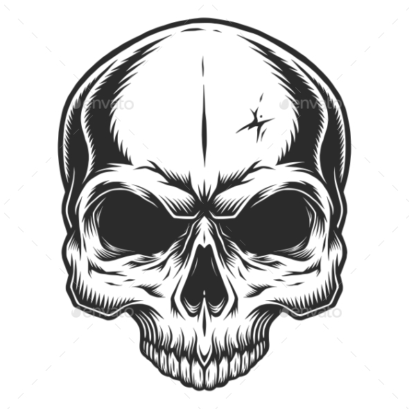 Monochrome Illustration of Skull - Tattoos Vectors
