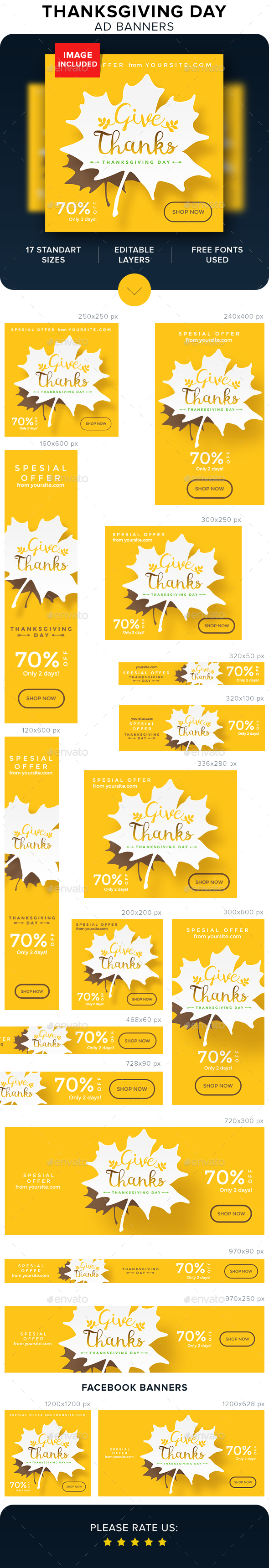 Thanksgiving Banners - Banners & Ads Web Elements