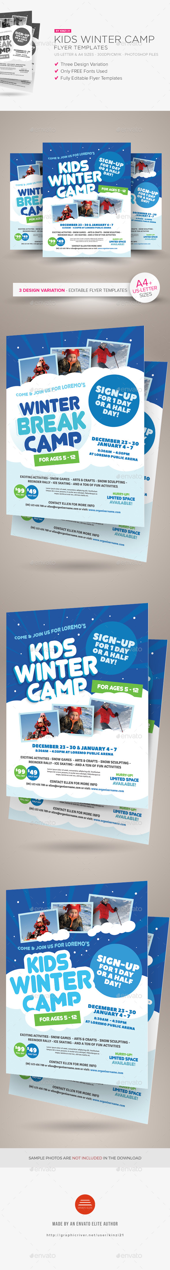 Kids Winter Camp Flyer Templates - Miscellaneous Events