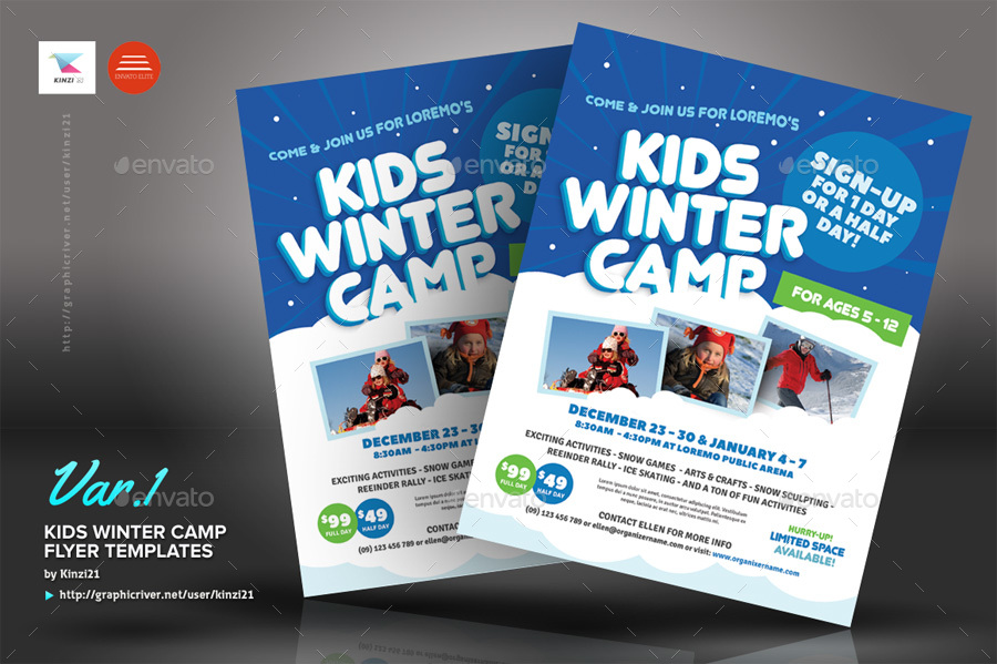 Kids Winter Camp Flyer Templates By Kinzi  Graphicriver
