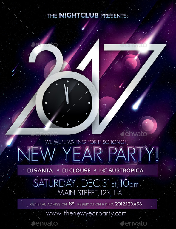 2017 New Year Party Poster - Clubs & Parties Events