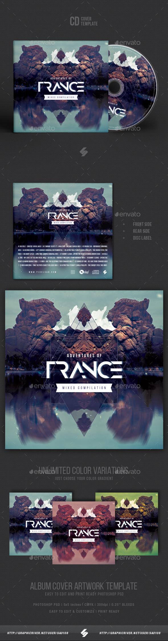 Adventures Of Trance - CD Cover Artwork Template - CD & DVD Artwork Print Templates