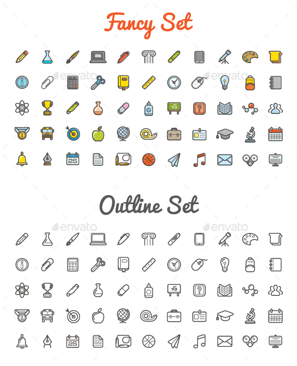 Great 55+55 Vector Education Icons - Icons