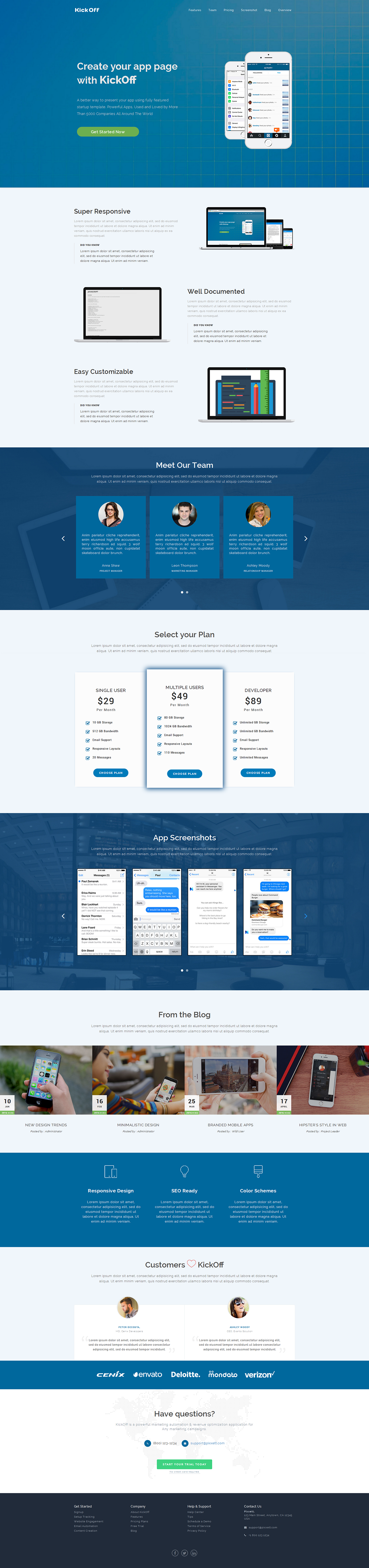KickOff - Responsive Startup Landing Pages by PIXXET | ThemeForest