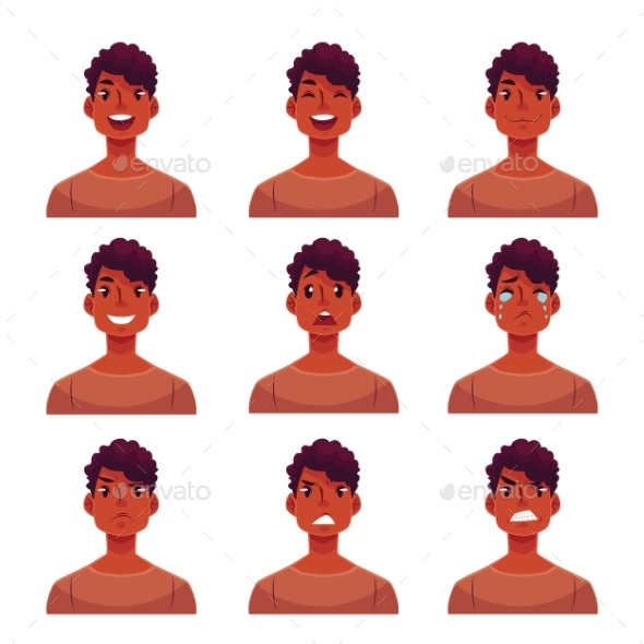 Set of Mans Face Expression Avatars - People Characters