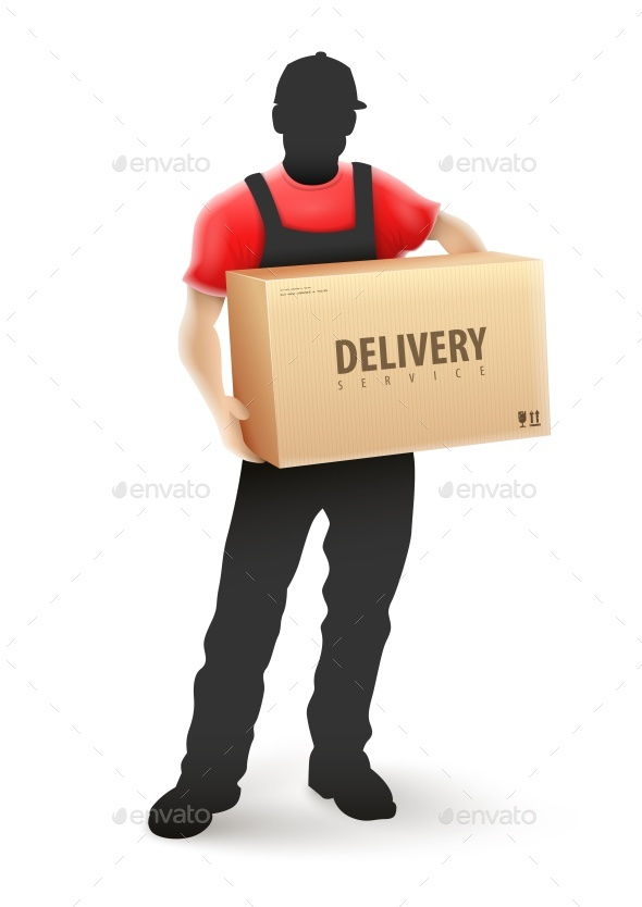 Delivery Service Man Postman in Black Uniform - Services Commercial / Shopping